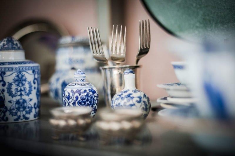 stock dutch interior design fork old blue pots