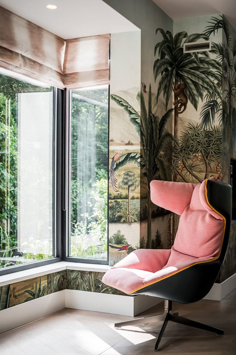 dutch interior design palm wallpaper pink chair