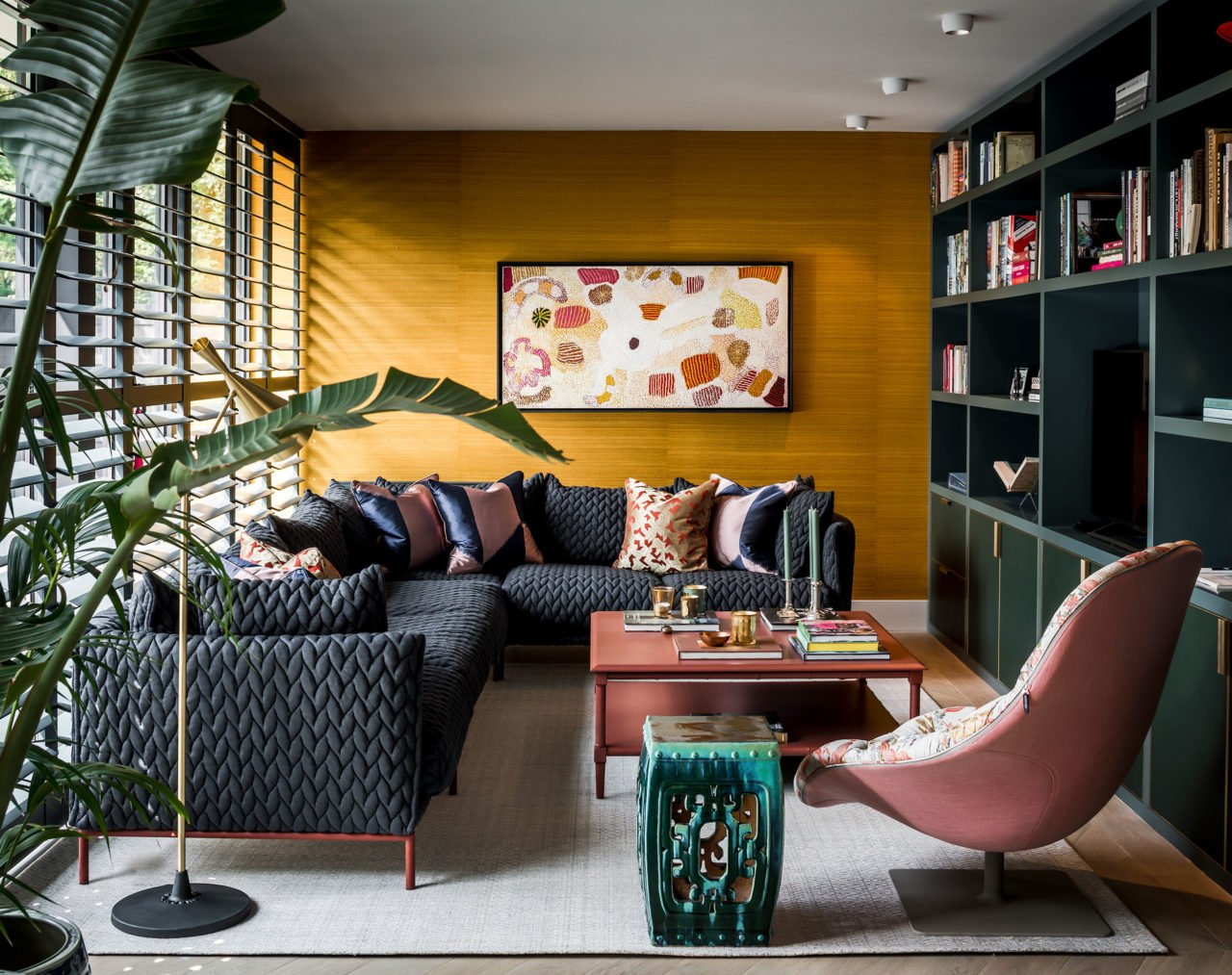 stock dutch interior design yellow wallpaper