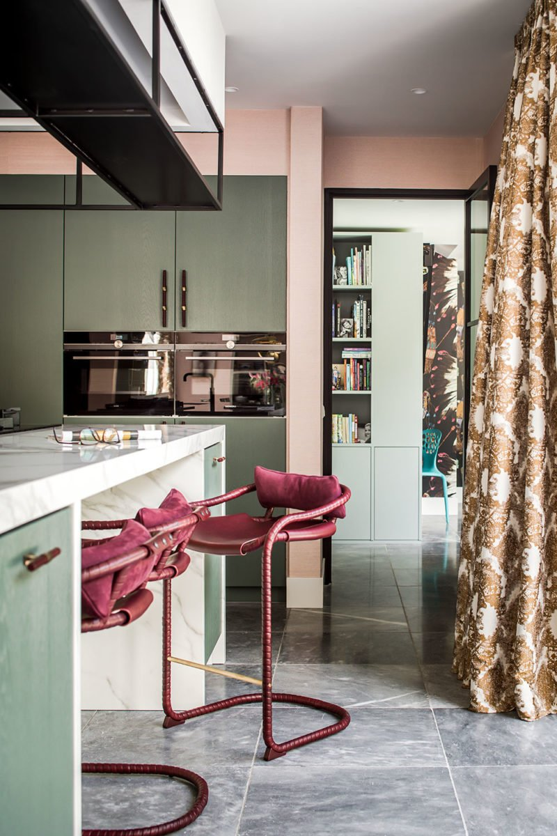 dutch interior design marble kitchen pink chair