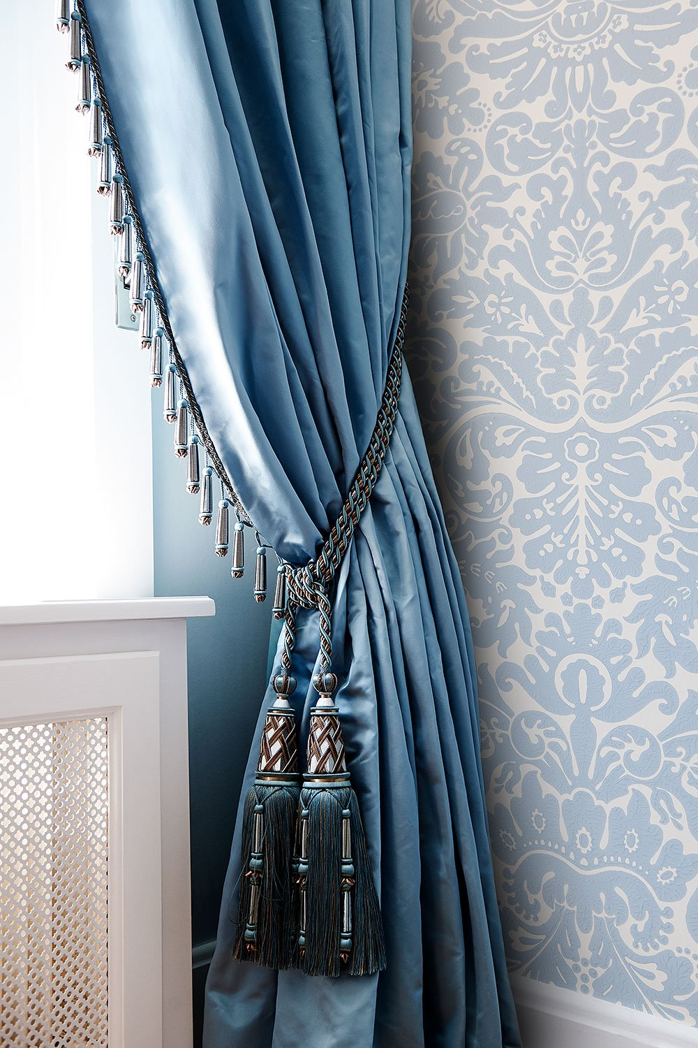 stock dutch interior design curtain blue