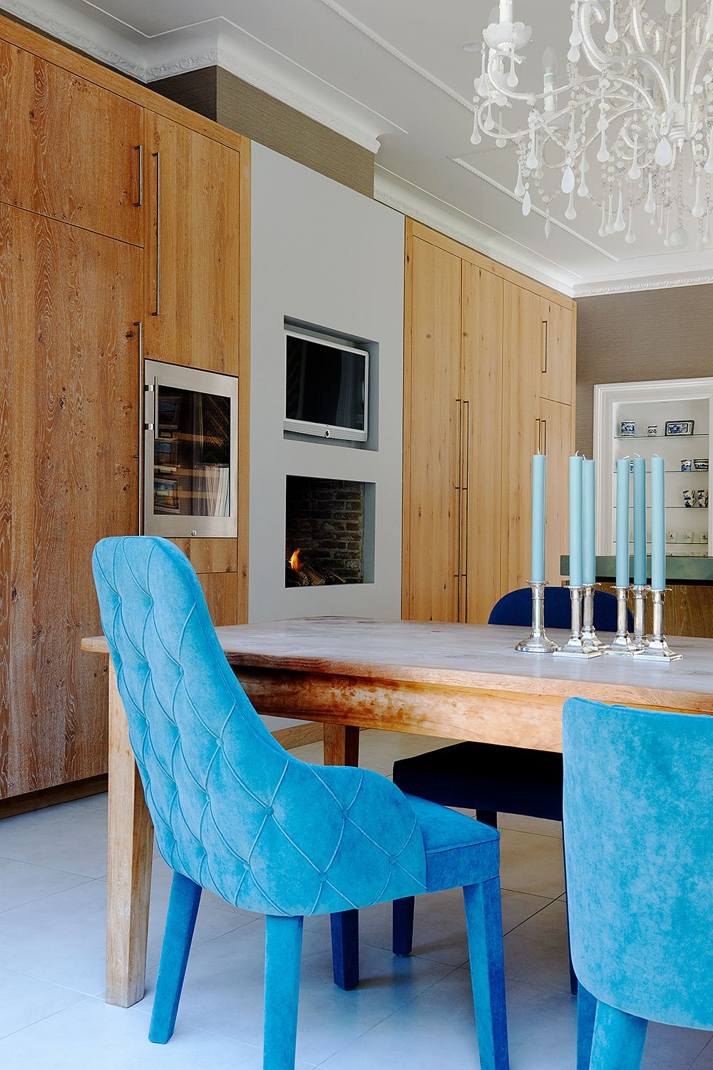 dutch interior design blue chair kitchen