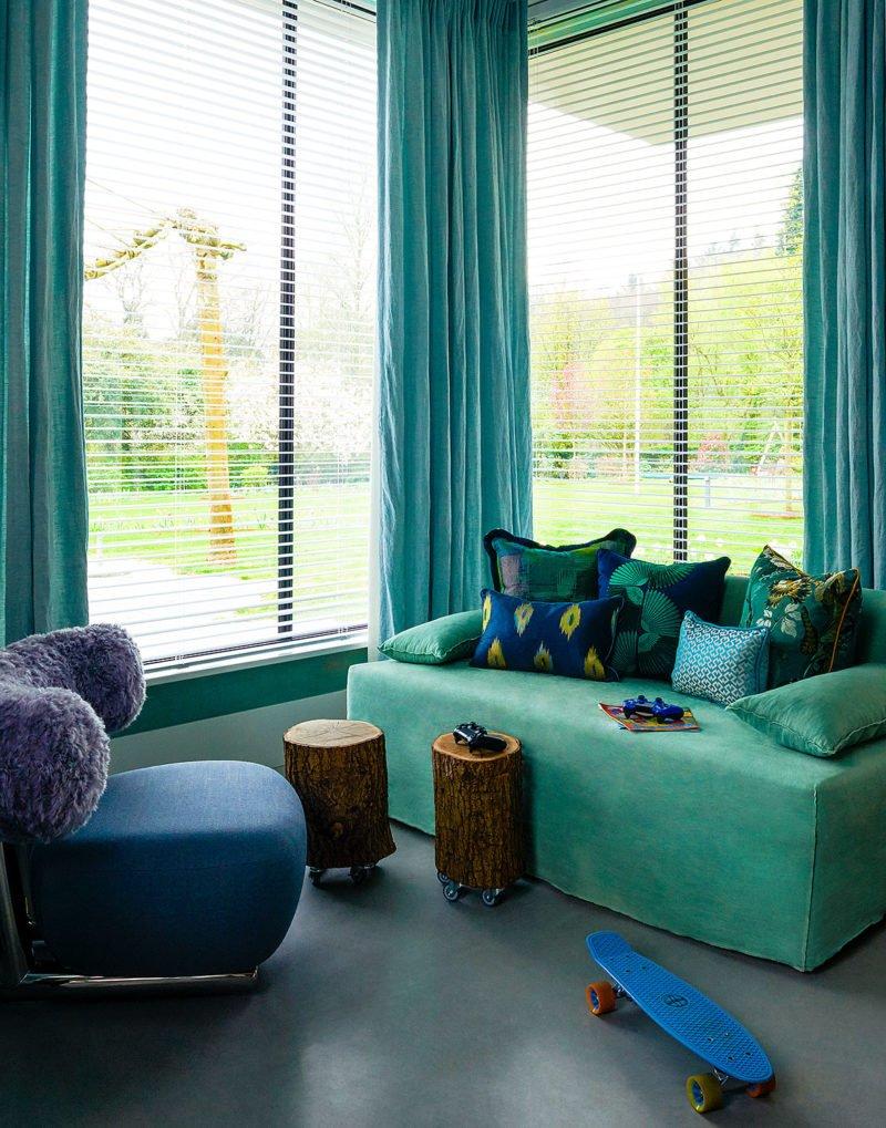 dutch interior design green couch kids