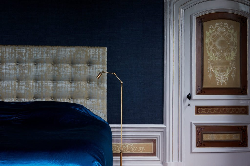 stock dutch interior design dark blue bedroom
