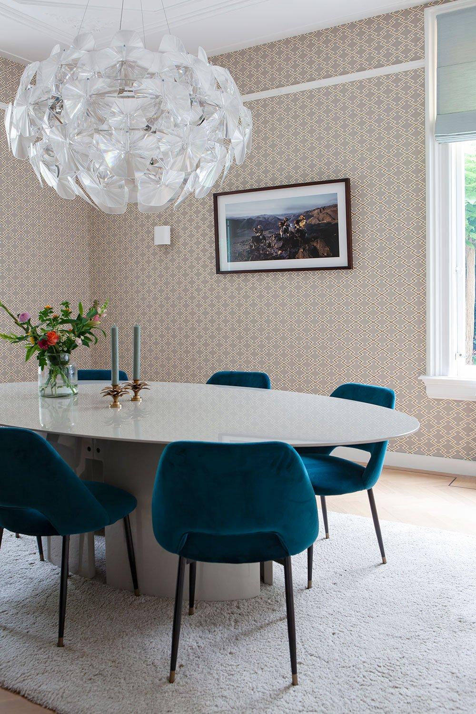 dutch interior design blue chair mirror table