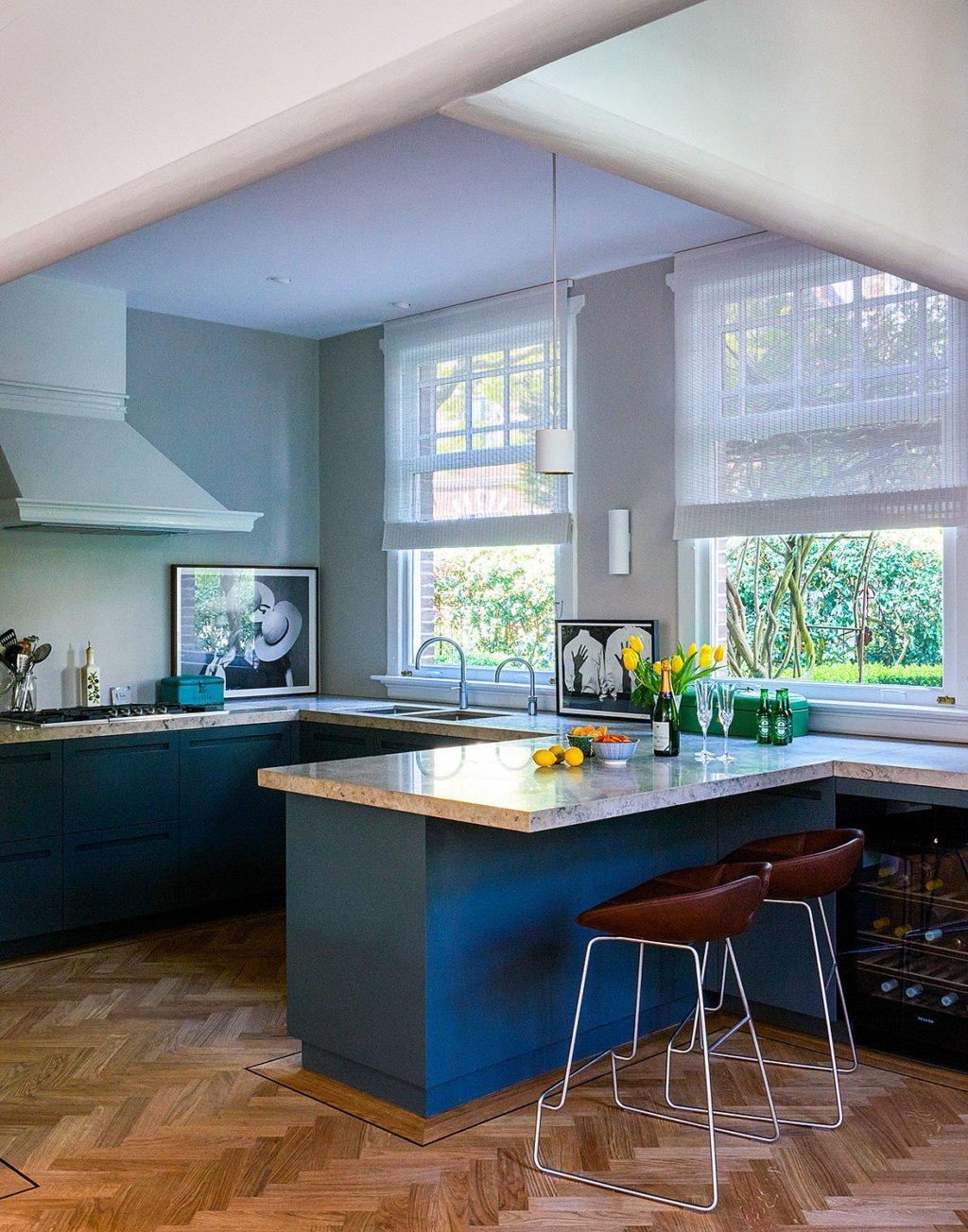 dutch interior design kitchen blue modern