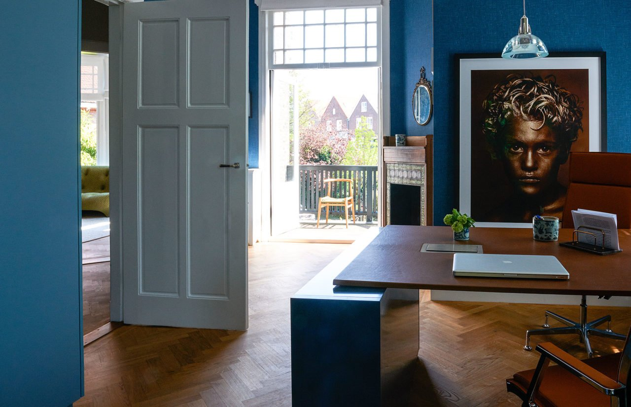 stock dutch interior design office room blue