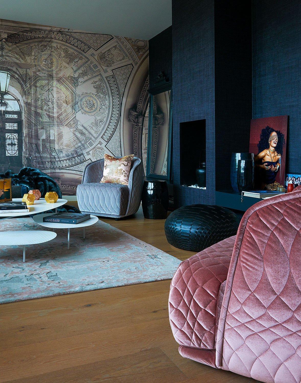 dutch interior design pink chair detail wallpaper ornaments