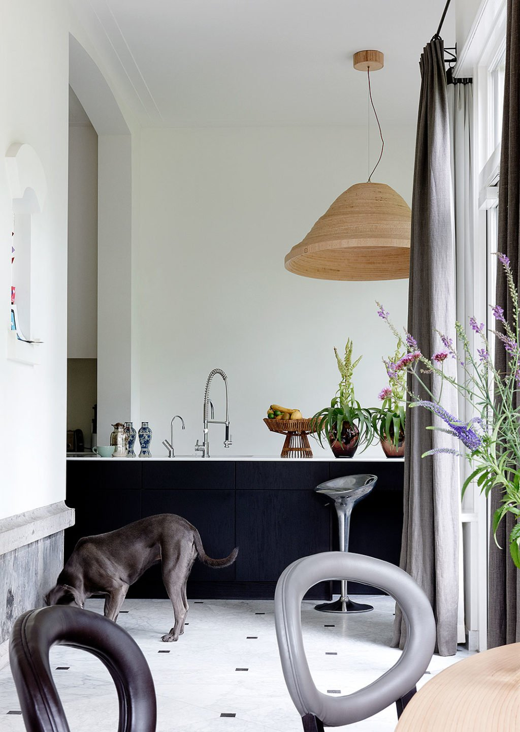 dutch interior design dog eating dark kitchen