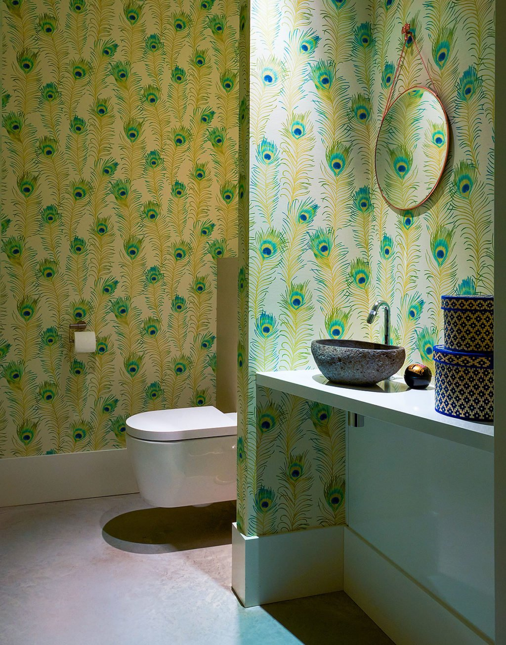 dutch interior design feather wallpaper bathroom