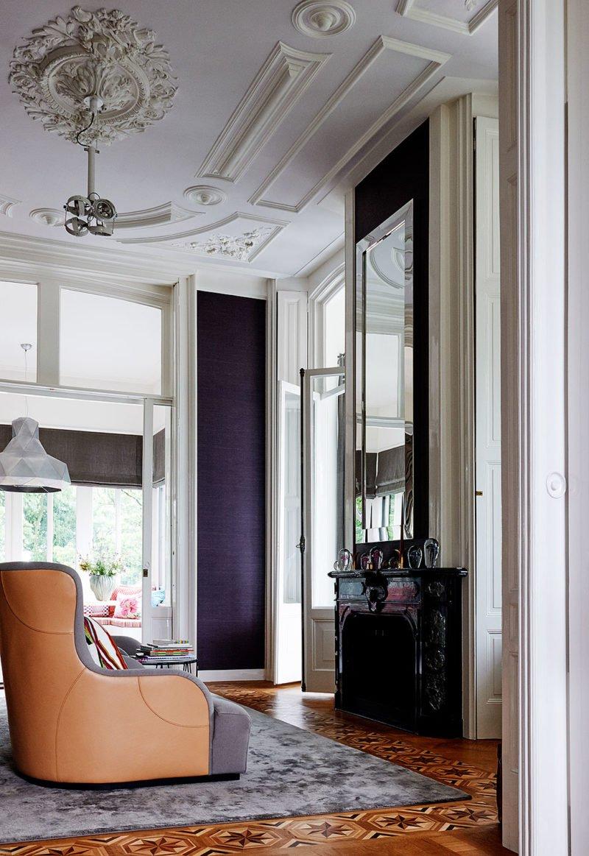 dutch interior design purple wallpaper ceiling ornament