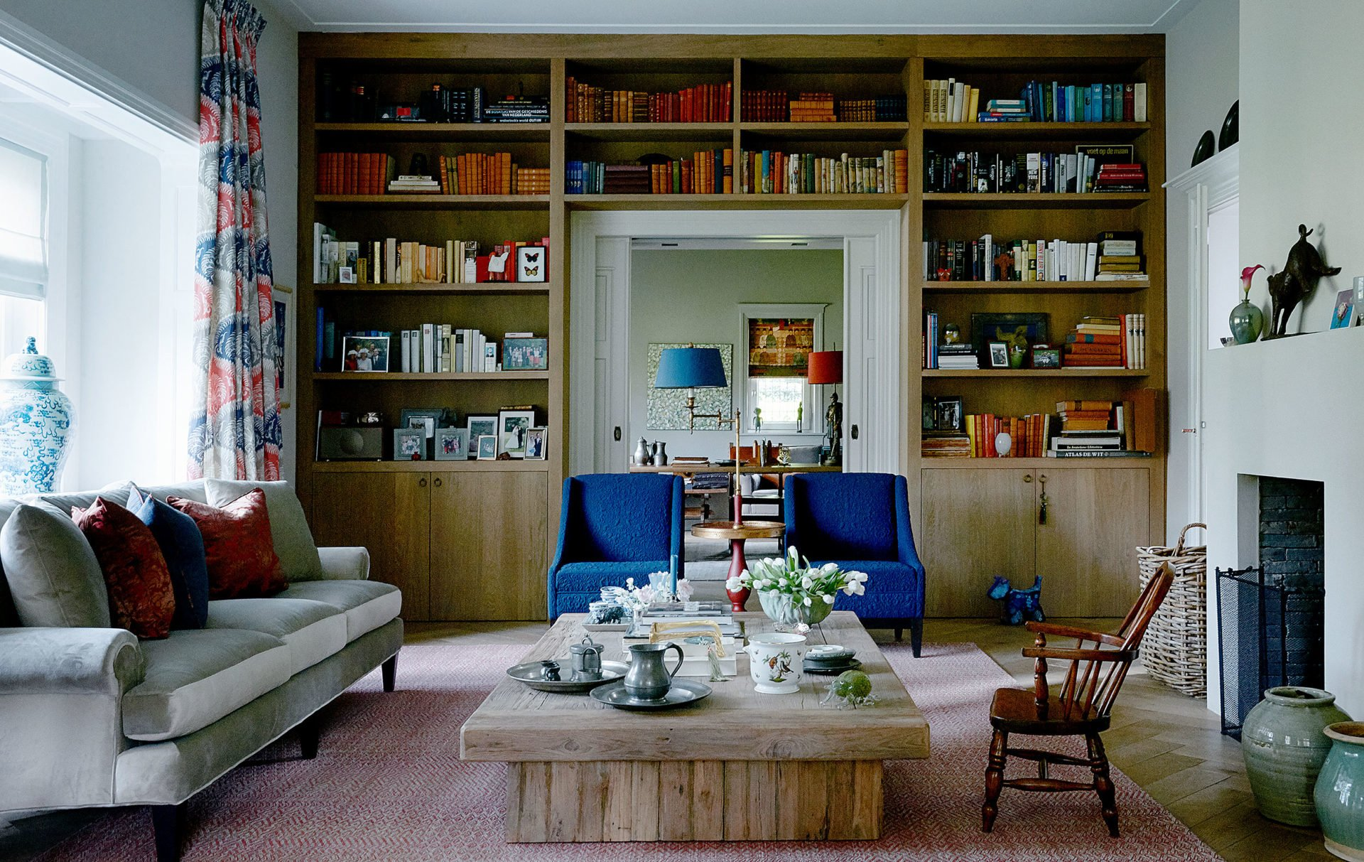 stock dutch interior design blue chairs