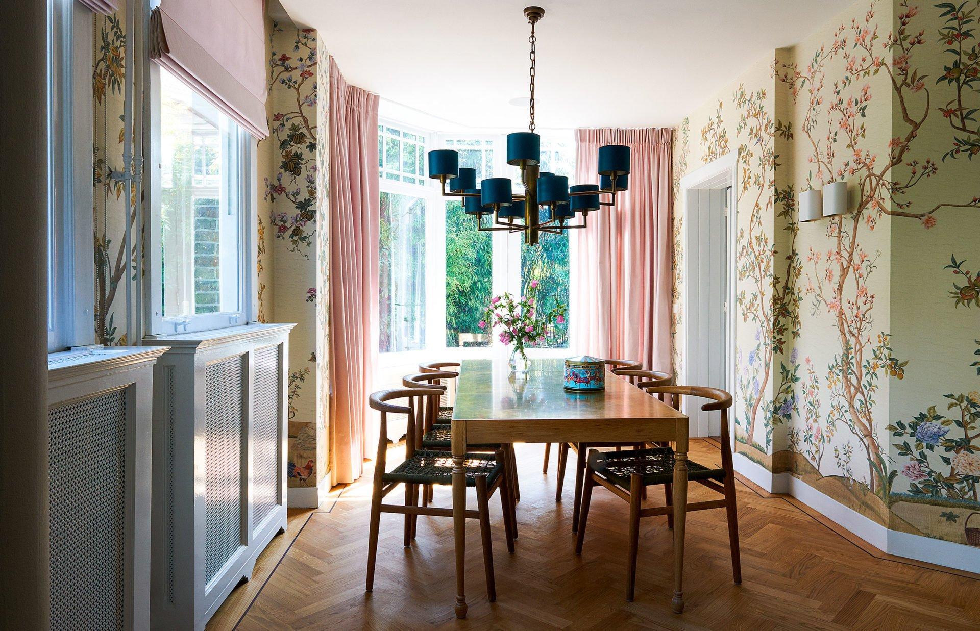 stock dutch interior design forest wallpaper flowers
