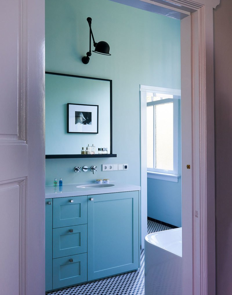 minimalist soft green bathroom