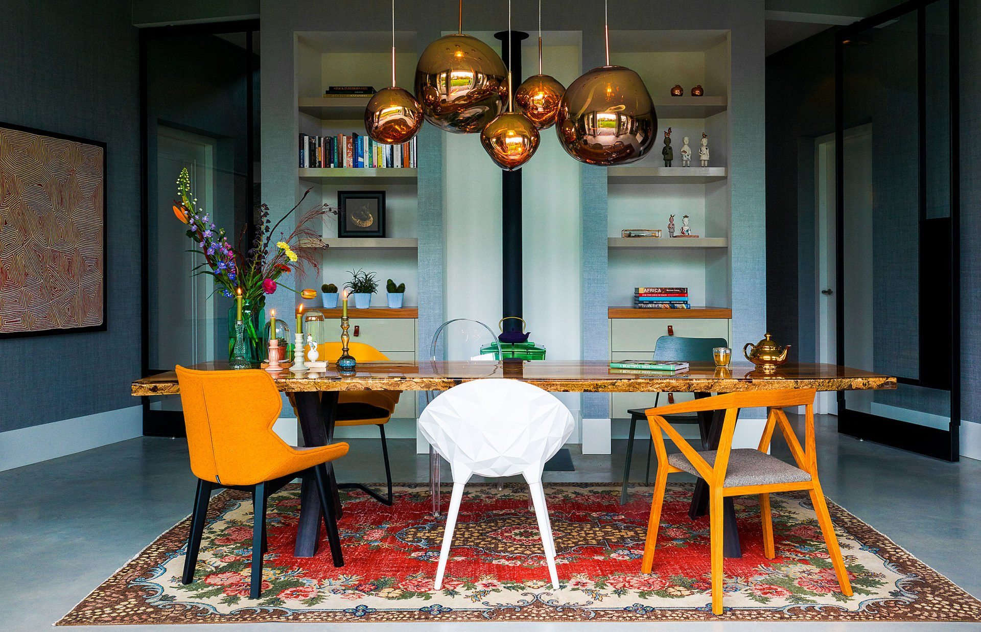 stock dutch interior design yellow chair bold lamp