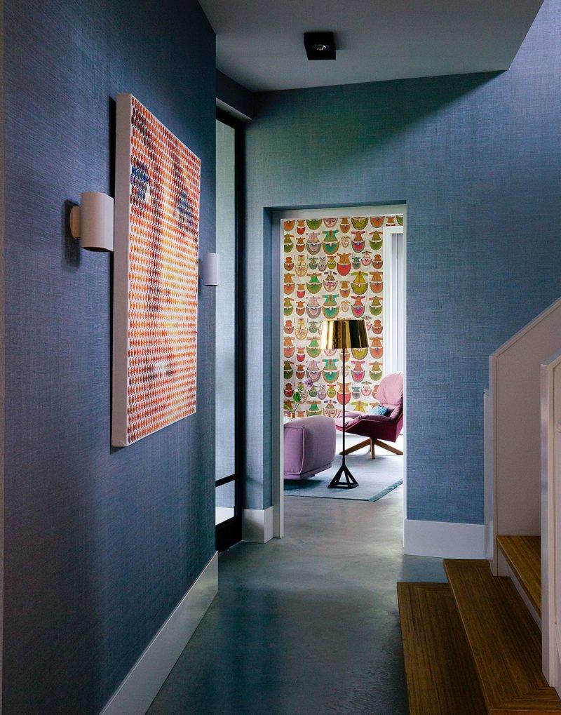 dutch interior design chines wallpaper hallway blue texture
