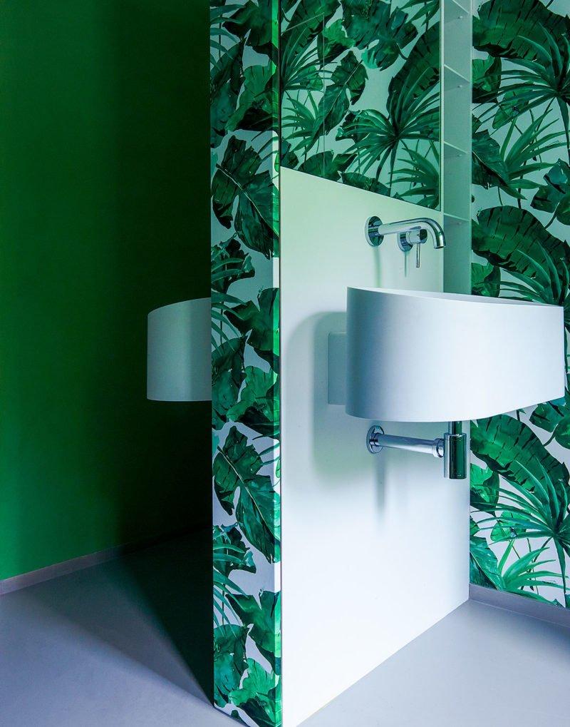 dutch interior design jungle wallpaper leaf bathroom