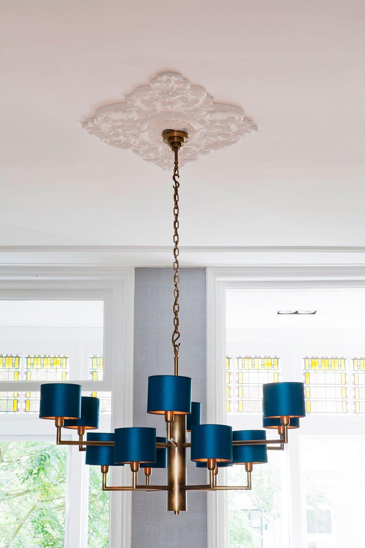 dutch interior design blue lamp ceiling ornament