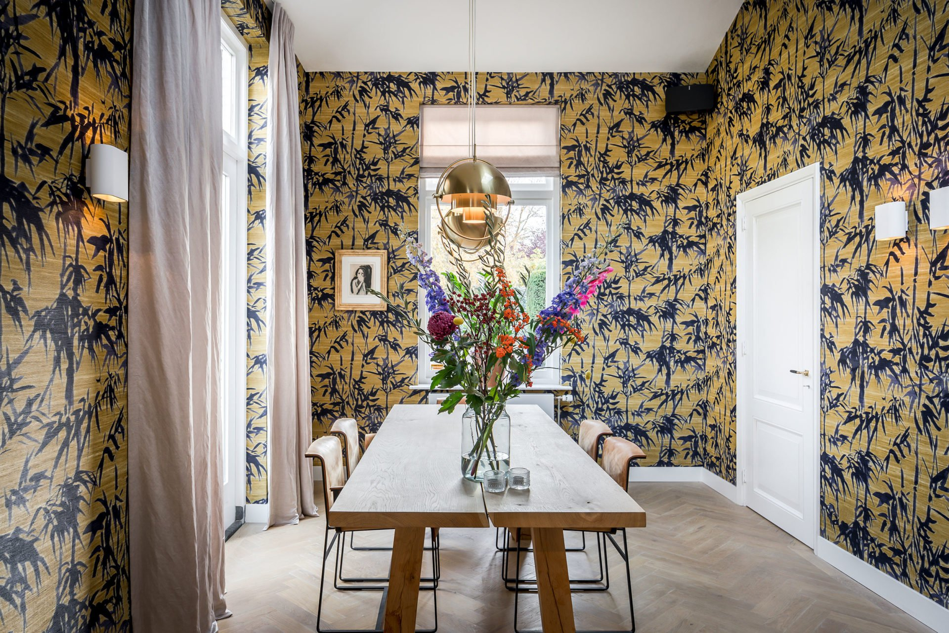 stock dutch interior design yellow palm wallpaper