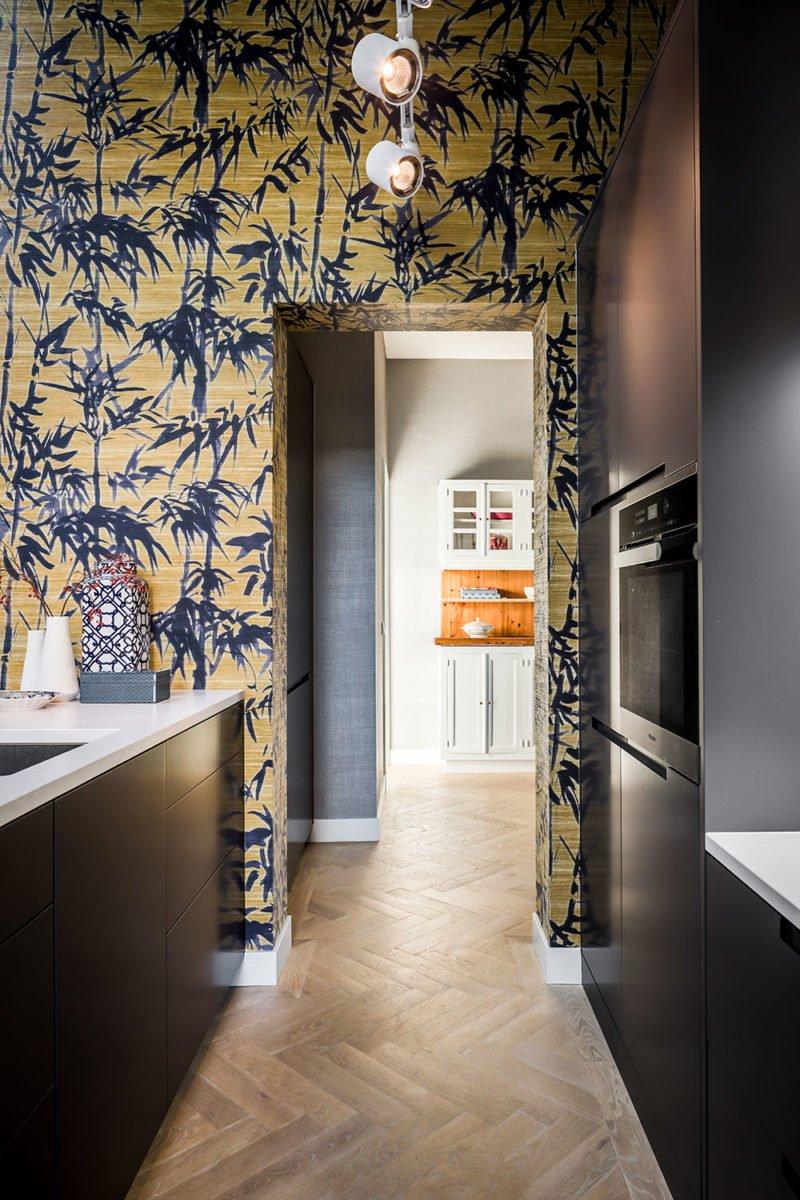 dutch interior design yellow forrest wallpaper
