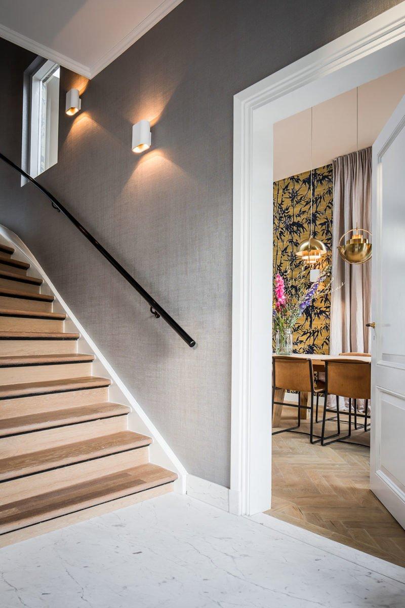 dutch interior design staircase grey wallpaper subtle lightning