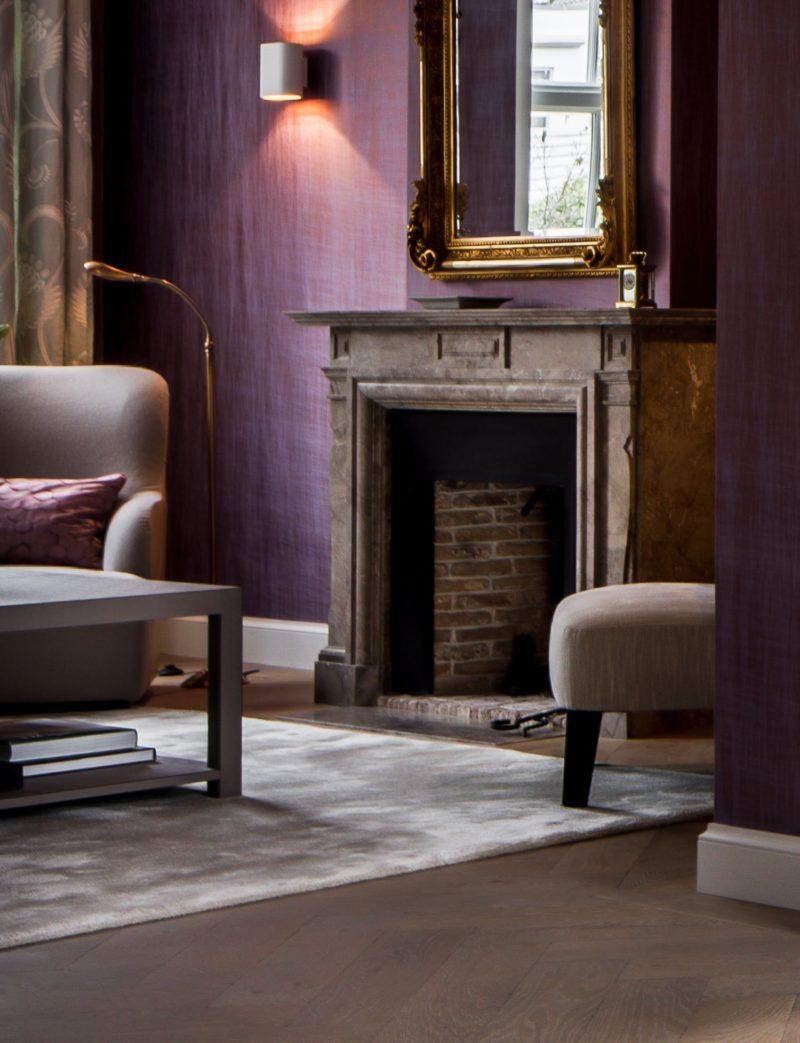 purple living room interior design