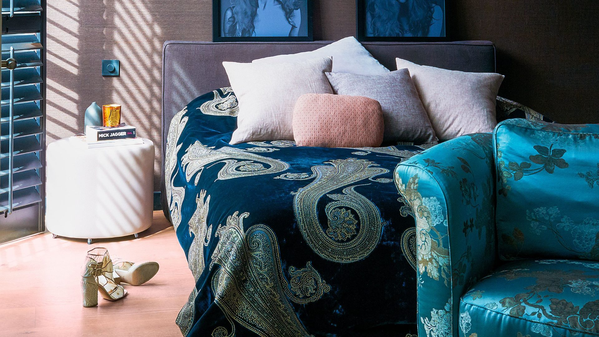 blue bed and sofa